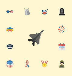 Flat icons military man usa badge tomb and other vector