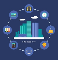 Flat Style Modern City With Business Icons vector image