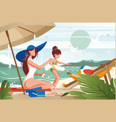 Flat young woman mother with hat smears sunblock vector
