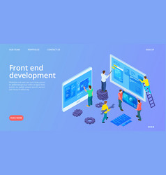 front end development isometric interface vector image