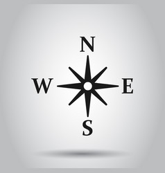 Global navigation icon in flat style compass gps vector