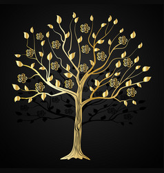 gold tree with flowers vector image