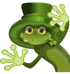 Green frog wearing a hat of Saint Patrick vector image