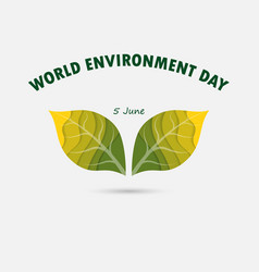 Green leaves sign world environment day concept vector