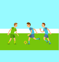 group people playing football match vector image