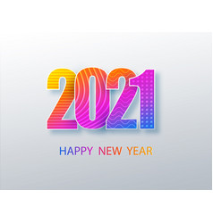 Happy 2021 new year colour banner in paper style vector