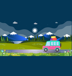 hatchback car with luggage driving by nighty road vector image