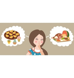Healthy or junk food choice Beautiful woman vector