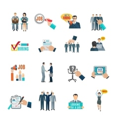 Hire Flat Icons Set vector image