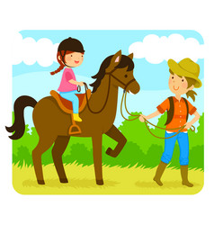 horse riding lesson vector image