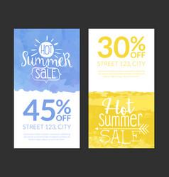 hot summer sale banner template set promotional vector image