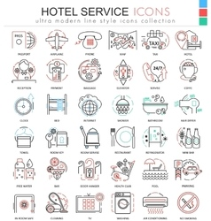 hotel service color line outline icons vector image