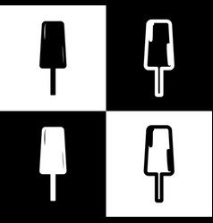 ice cream sign black and white icons and vector image vector image