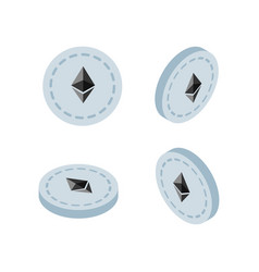 isometric 3d ethereum cryptocurrency vector image