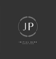 J p jp beauty initial logo handwriting logo vector