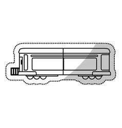 Locomotive train transport cargo cut line vector