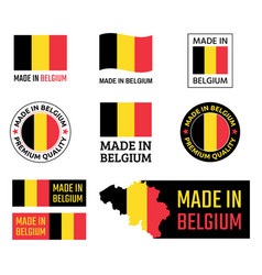 made in belgium labels set belgian product emblem vector image