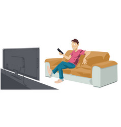 man is watching tv funny people vector image