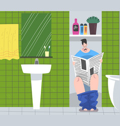 man reading newspaper sitting on toilet bowl vector image