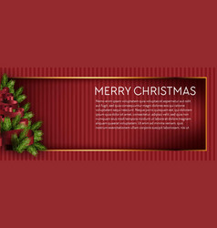 merry christmas tree holidays pine branch fir vector image