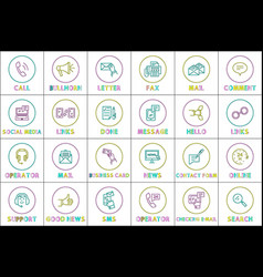 message sms phone calls icons vector image
