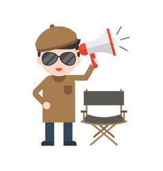 Movie director and chair megaphone set profession vector