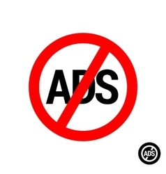 No ads round button icon vector