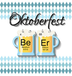 Oktoberfest background template with two beer vector