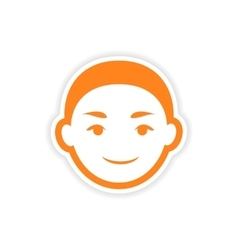 Paper sticker indian boy on white background vector