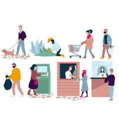 people social life in quarantine hobbies and vector image