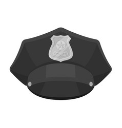 police cap icon in monochrome style isolated on vector image