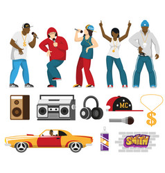 Rap singers accessories flat set vector