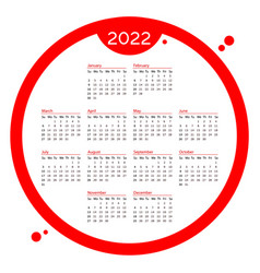 Red circle table calendar on 2022 year template vector