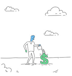 Rich business man watering dollar sign money vector