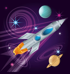 Rocket with planets in the universe atmosphere vector