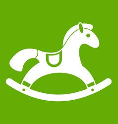 Rocking horse icon green vector