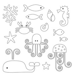 sea life digital stamps vector image