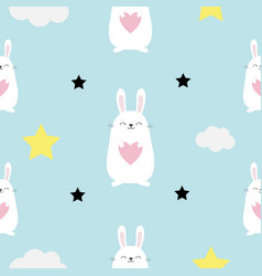 Seamless pattern rabbit hare head heart in hands vector