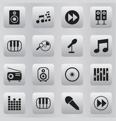 Set of 16 editable audio icons includes symbols vector