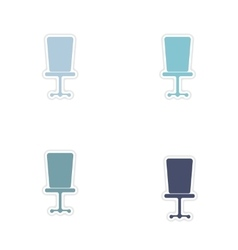 Set of paper stickers on white background office vector