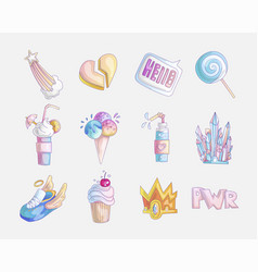 set princess and little girls cute fashion icon vector image