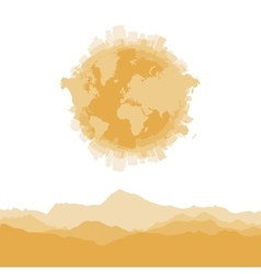 Silhouette city world map and mountains on white vector