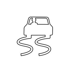 Slippery way road sign vector