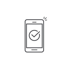 smartphone and checkmark line vector image