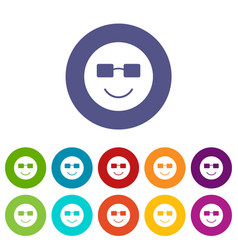 Smiling emoticon set icons vector