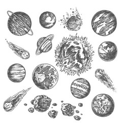 Solar system planets ans asteroids pencil sketch vector