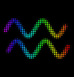 spectral colored pixel sinusoid waves icon vector image