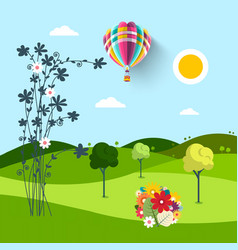 spring meadow with flowers trees and hot air vector image