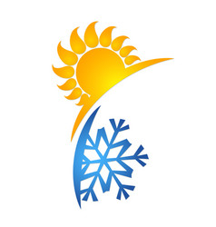 Sun and snowflake symbol vector