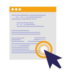 Template webpage with arrow cursor vector